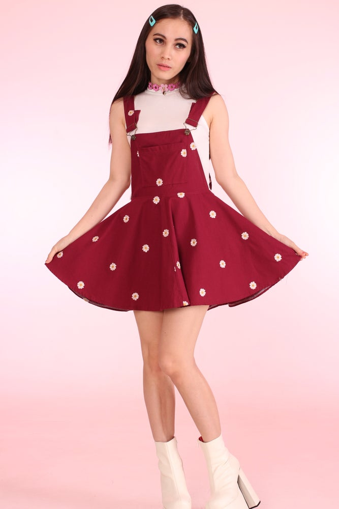Image of Maroon Daisy Pinafore