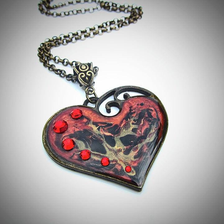 Image of Ruby Rocks Lazy Heart Bronze Pendant