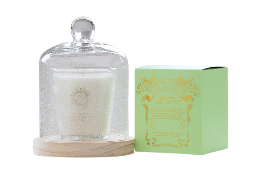 Image of Glass Cloche, wooden base and scented candle