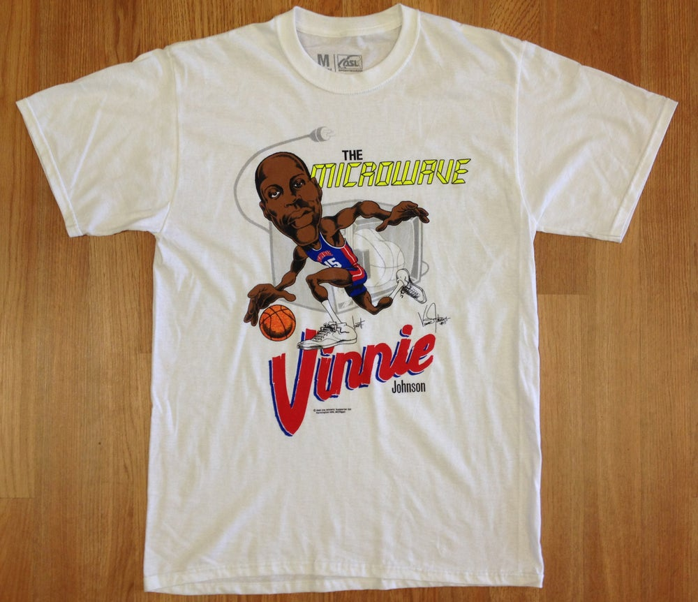 "Image of Detroit Bad Boys Vinnie ""Microwave"" Johnson Big Head Shirt"