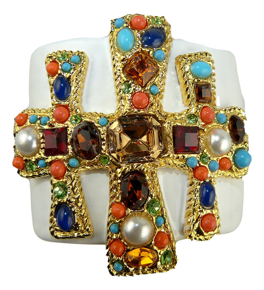 Image of SOLD OUT Kenneth Jay Lane Gold and Crystal Cross Hinged Cuff Bracelet