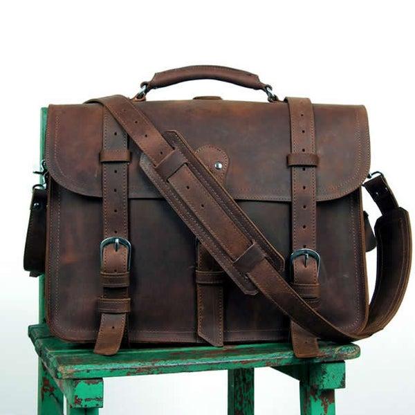 Image of Men's Large Vintage Handmade Leather Briefcase / Travel Bag / Satchel - Backpack / Messenger (n53)