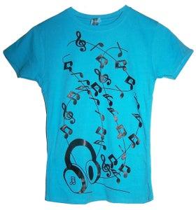 Image of Headphones Blue T Shirt