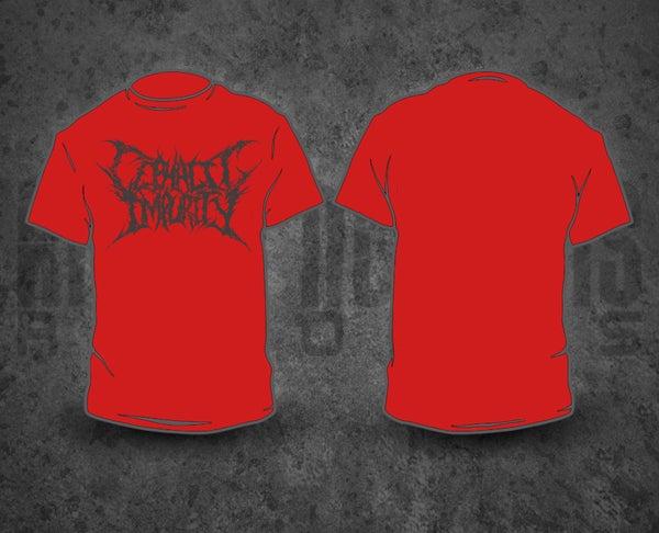 Image of CEPHALIC IMPURITY - Grey Logo / Red T-Shirt