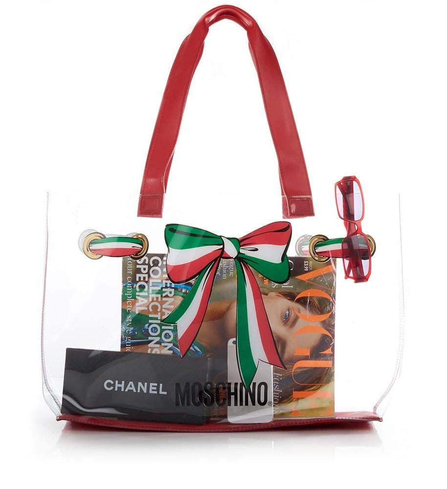 Image of ON SALE AUTHENTIC Moschino Vintage Bow Tie Massive PVC Tote Bag