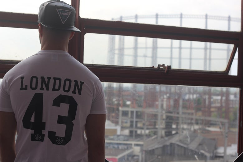 "Image of ""London 43"" White T-Shirt w/ Black Print"