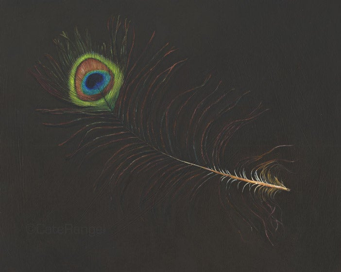 Image of Peacock Feather Original Painting 8x10