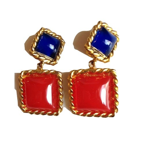 Image of SOLD Escada Blue and Red Gripoix Drop Dangle Earrings