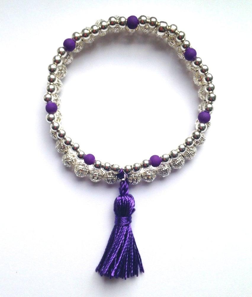 Image of Funky layered tassle ball charm bracelet