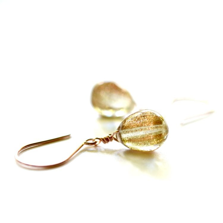 Image of Gold glitter glass drop earrings
