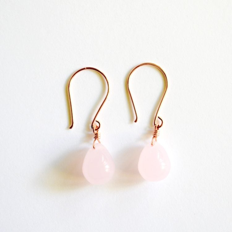 Image of Opaque pink glass drop earrings
