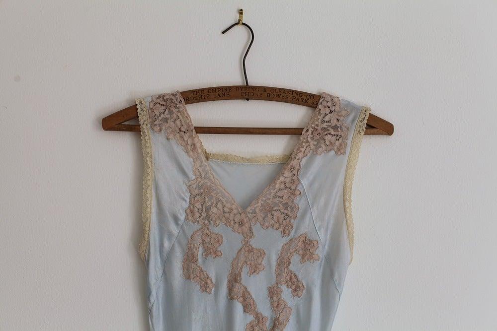 Image of 1930s ice blue satin slip dress