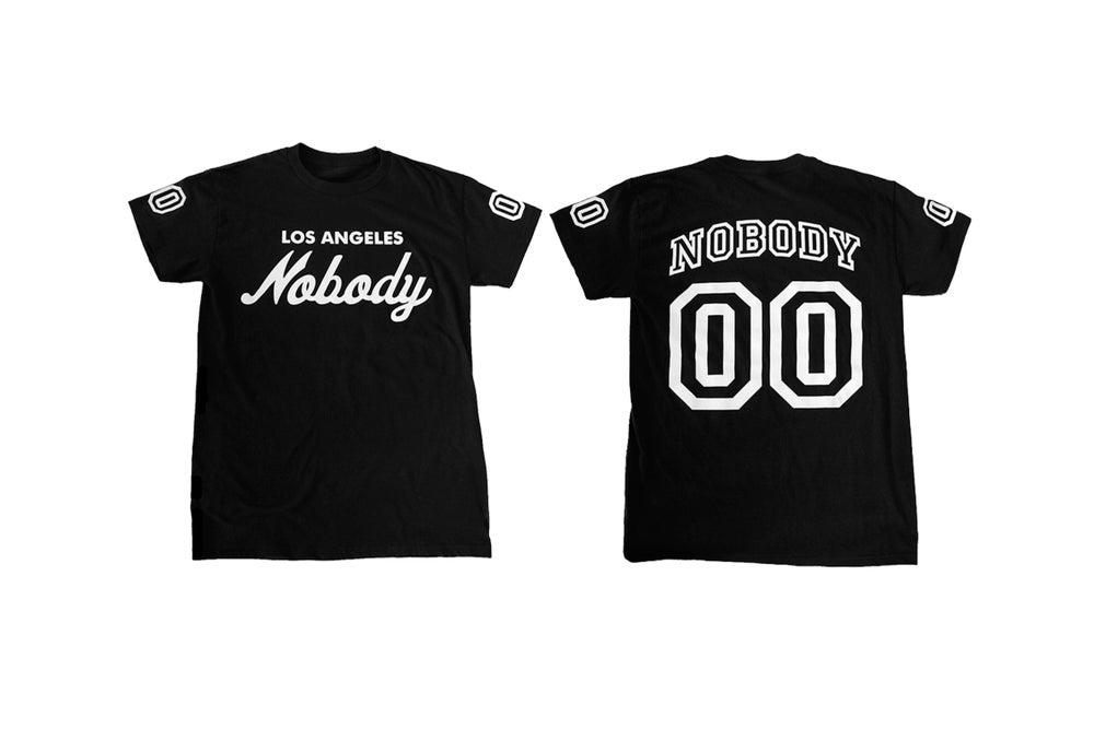 Image of LA NOBODY Jersey Style Black T-shirt