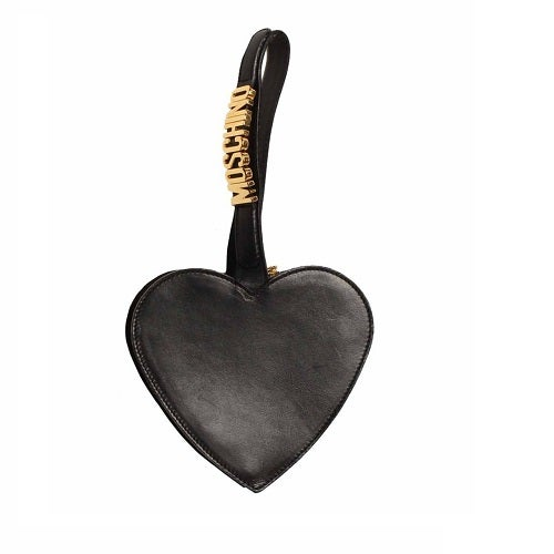 Image of SOLD OUT Moschino Black Leather Heart Wristlet Bag