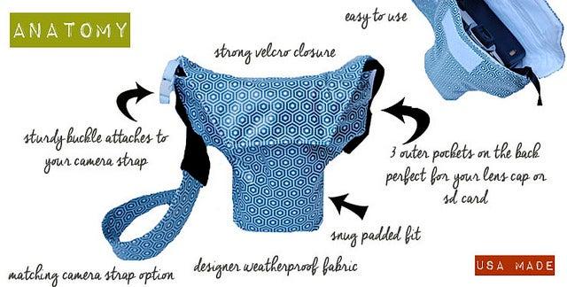 Image of Best Camera Bags for DSLR Camera Coats | Blue Geo Mod Rain Slicky | Better than Neoprene | USA