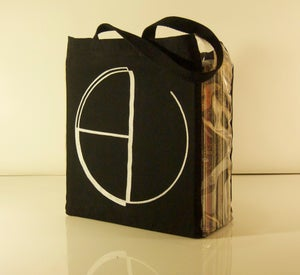 Image of EV tote bag with clear vinyl siding.