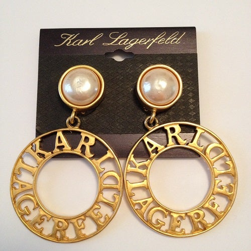 Image of SOLD OUT Karl Lagerfeld RARE Vintage 1990's Logo Earrings - New On Card