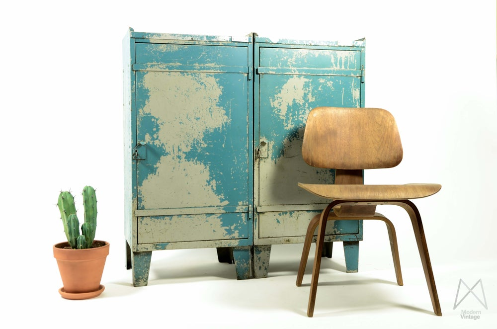 Image of Industrial Vintage Steel Cabinets World Map Patina