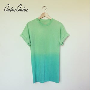 Image of Green Fade Dip Dye Tee