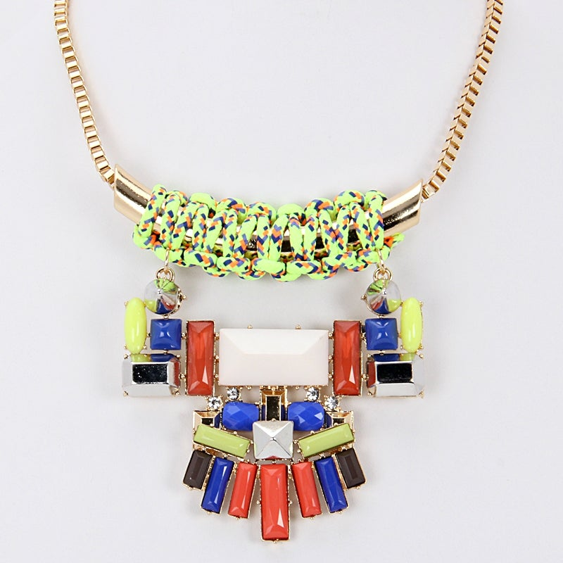 Image of Geometric Neon Large Statement Necklace