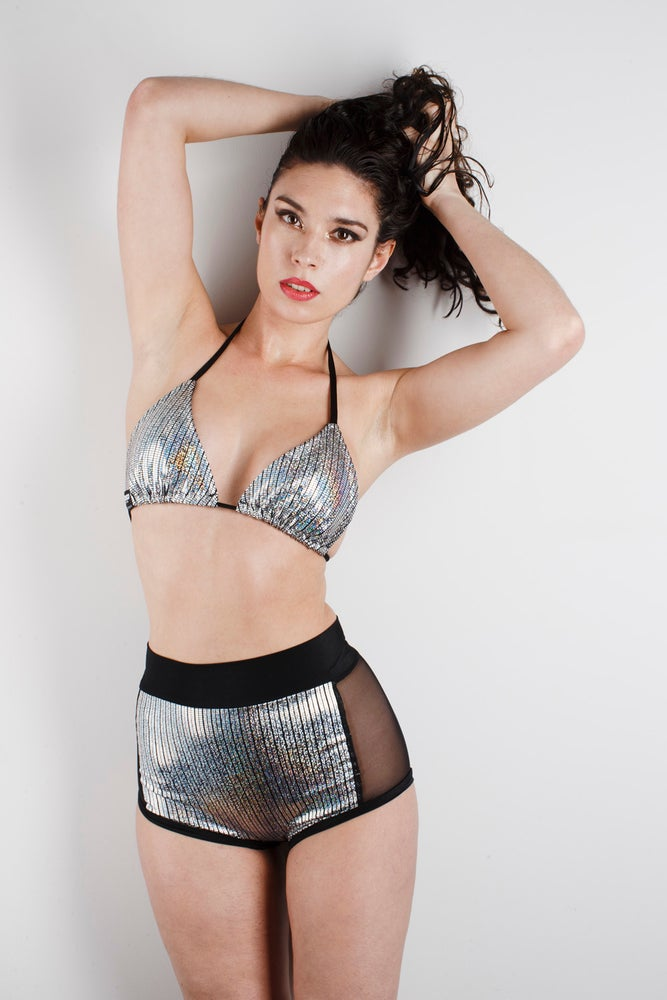 Image of CELINE Two Piece Bikini in SILVER HOLOGRAPHIC