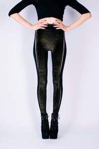 Image of ALINA Leggings in Limited Edition BLACK, GOLD GLITTER VELVET