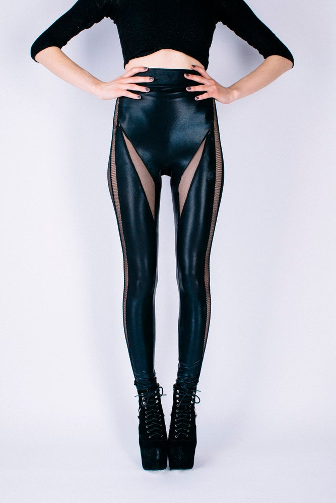 Image of DRACUL PANELLED LEGGINGS IN BLACK LEATHER LOOK