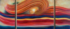 """Image of """"Come to the River"""" TRIPTYCH (3 canvases) 12""""x24,30""""x24,12""""x24""""  acrylic on stretched canvas"""