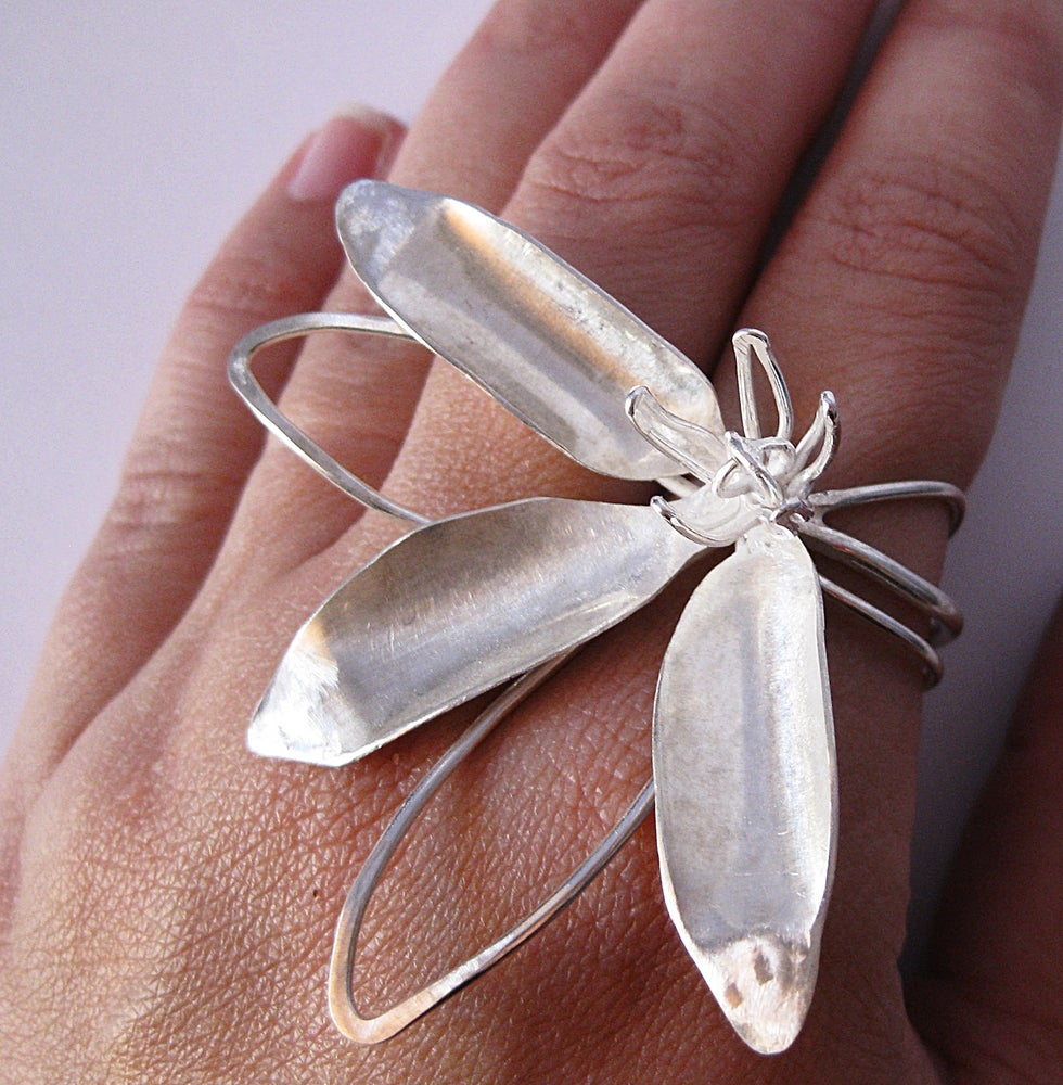 Image of Deconstructed Myrtle cocktail ring in sterling silver