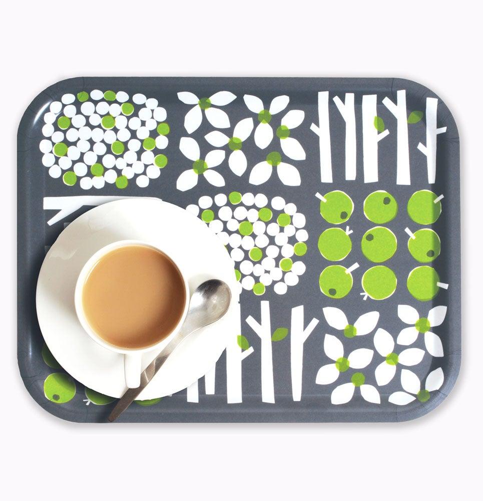 Image of Rectangular birchwood tray grey/green