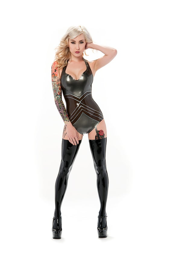Image of Madonna latex playsuit