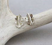 Image of Fine Silver Leaf Stud Earrings
