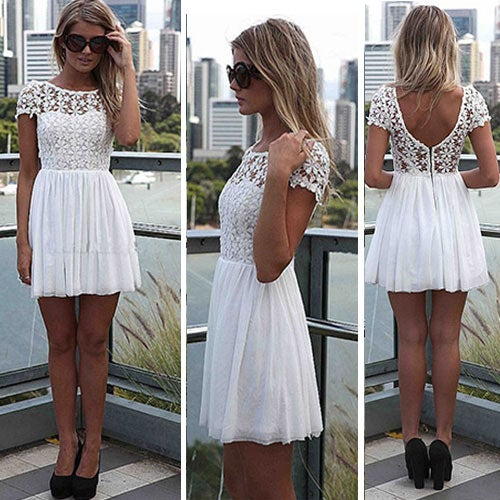 Image of [grxjy561725]Sexy Backless Lace Chiffon Spliced Short Sleeve Dress