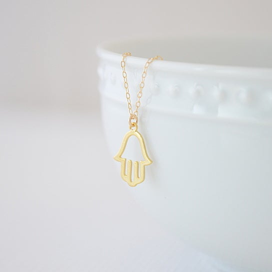 Image of Gold Hamsa Hand Necklace