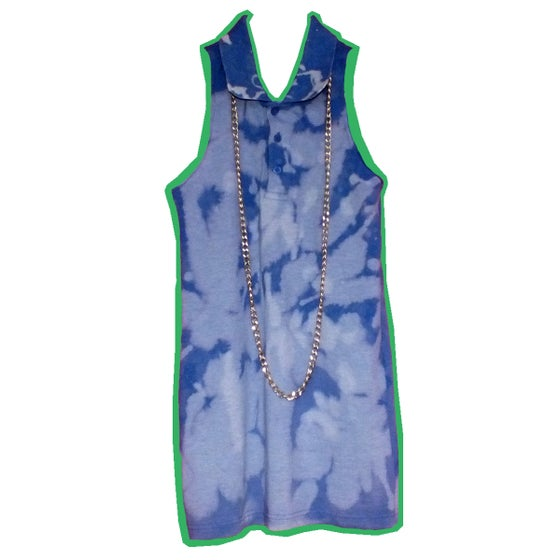 Image of Blue Bleached Polo Tank Top