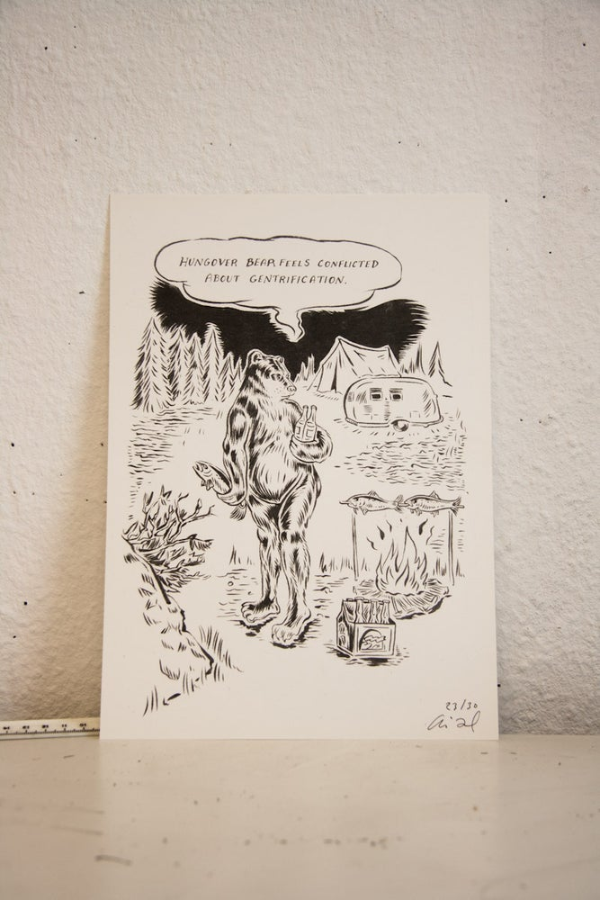 "Image of Limited Edition ""Hungover Bear and Friends"" Prints//Gentrification"