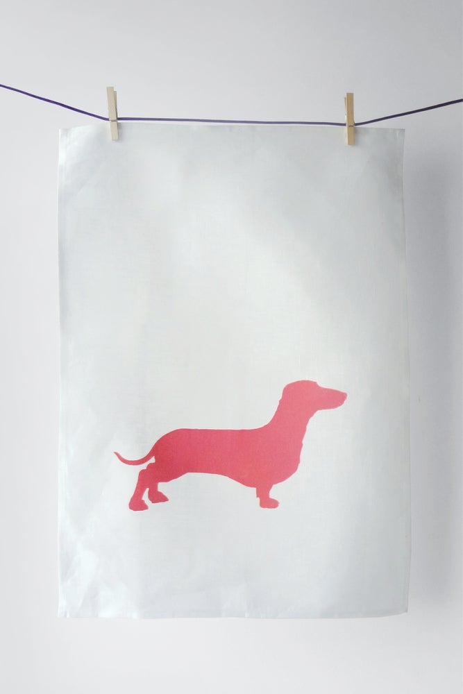Image of Dachshund in Pink - Tea Towel