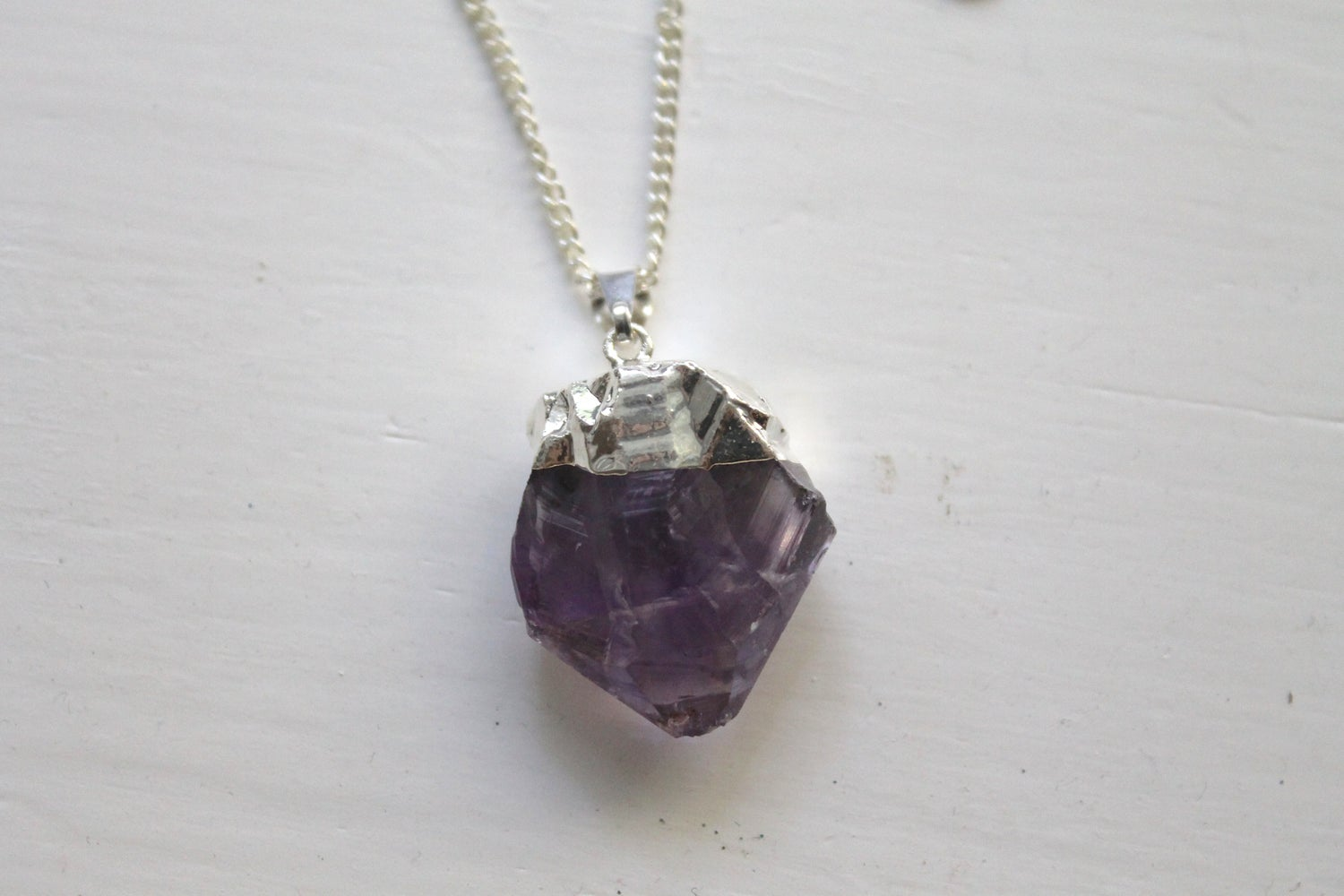 Image of Silver Dipped Amethyst Necklace