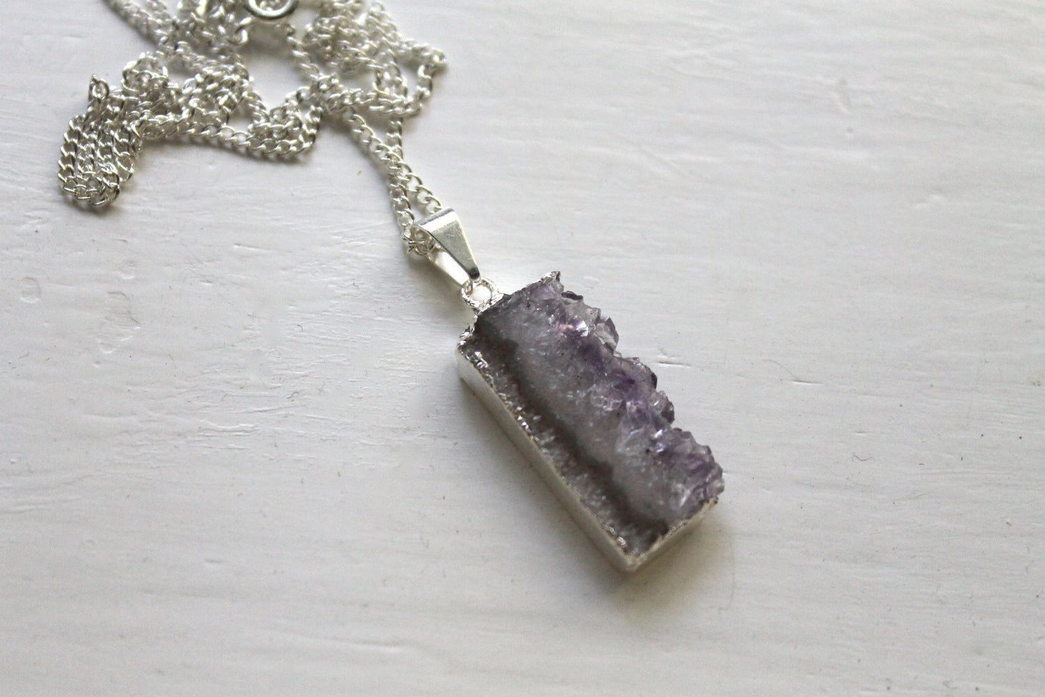 Image of Silver Dipped Amethyst Slice Necklace