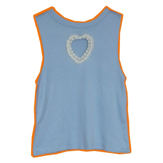 Image of Baby Blue Crop Top With Cut Out Lace Heart