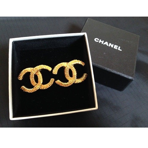 Image of SOLD OUT Chanel Large Vintage CC Textured CC Logo Earrings