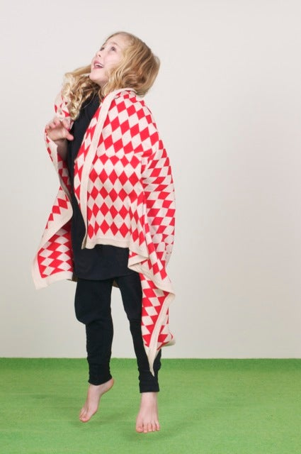 Image of Harlequin Blanket Red Beige
