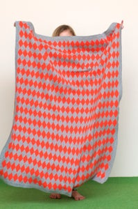 Image of Harlequin Blanket Orange Grey
