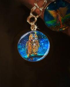 Image of Star Owl  Silver Charm - Conduit To Celestial Wisdom