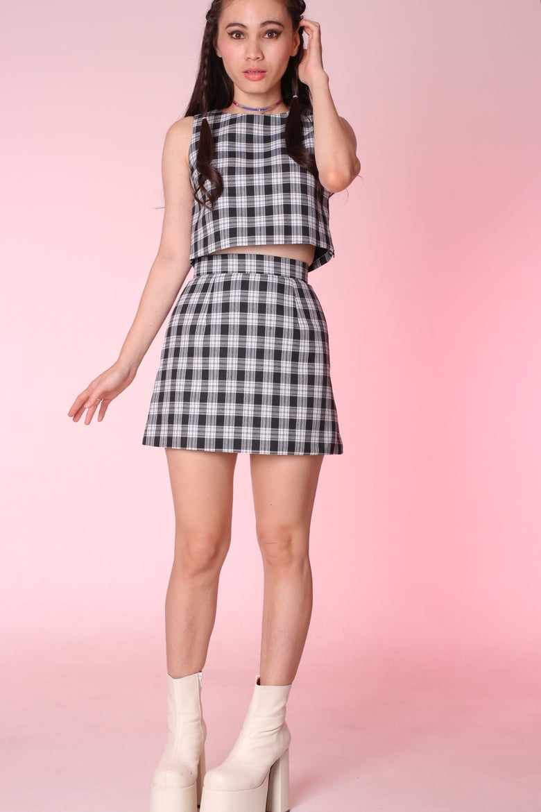 Image of PRE ORDER - Charli Black & White Tartan 2 Piece Set