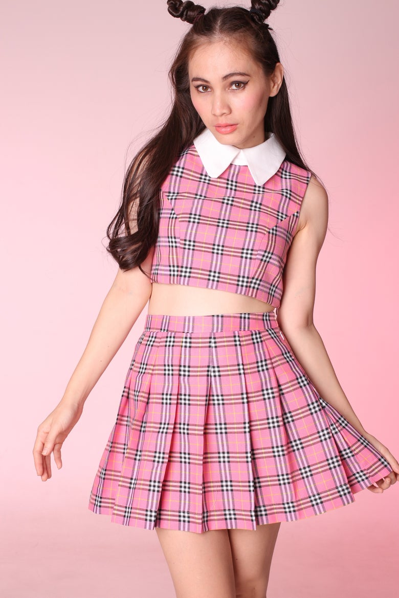 Image of Made To Order - As If Sleeveless Set in Pink Tartan