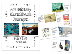 Image of Art History Sketchbook Prompts, $4 for one set or $10 for all