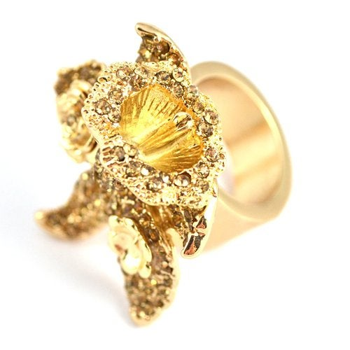 Image of SOLD OUT Auth VERSACE for H&M Flower Crystal Cocktail Ring size M