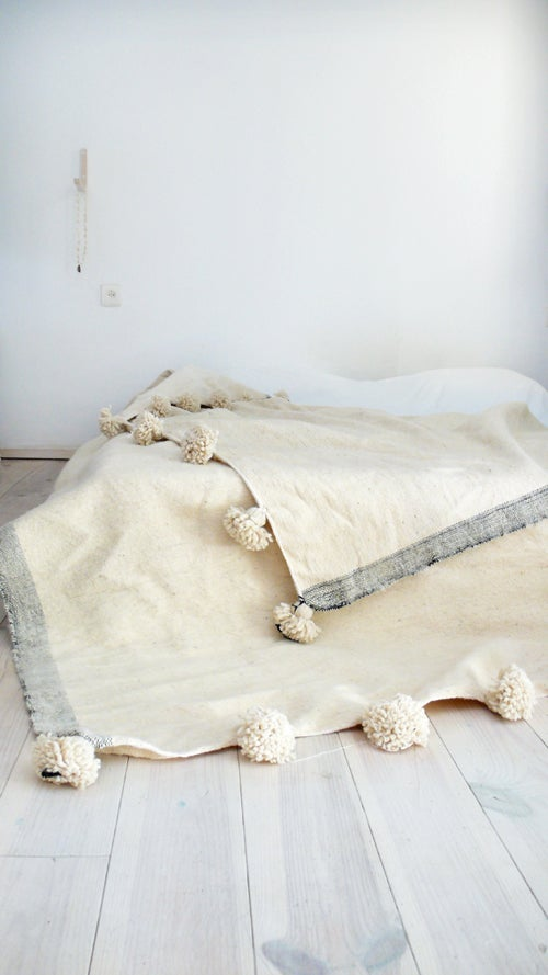 Image of Moroccan POM POM Wool Blanket Ecru and lateral stripe Grey