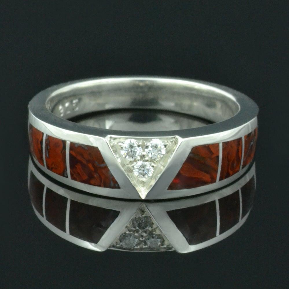 Image of Dinosaur Bone Wedding Ring with White Sapphires